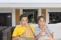 Boys with glasses of milkshake. Adorable boys with glasses of milkshake Royalty Free Stock Photos