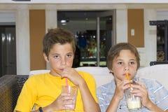 Boys with glasses of milkshake. Adorable boys with glasses of milkshake Stock Images