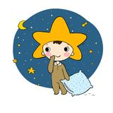 Boys gnome in the costumes star. Boys gnome in the costumes of the star. Cute cartoon elf. Good night. Time to sleep. Children s play royalty free illustration