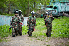 Boys on ground for paintball Royalty Free Stock Photography