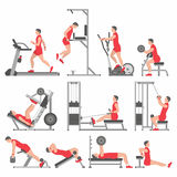 Boys in the gym. Gym Exercises and Fitness Infographic Element Vector Design royalty free illustration