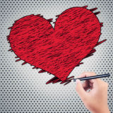 Boys hand drawing red hearts Royalty Free Stock Images