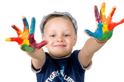 Boys hand in the paint Royalty Free Stock Photos