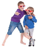 Boys having fun wearing 3D glasses Royalty Free Stock Photography