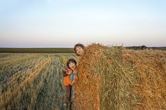 3 boys in a haystack in the field Royalty Free Stock Images