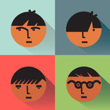 Boys Head Icons With Shadows Stock Images