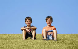 Boys on a Hill Royalty Free Stock Images