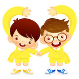 Boys are holding hands, makes a love gesture. Education and life Stock Image