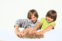 Boys holding money Royalty Free Stock Photos