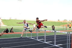 Boys Hurdle Race Stock Photo