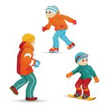 Boys ice skating, snowboarding, playing snowballs Royalty Free Stock Image