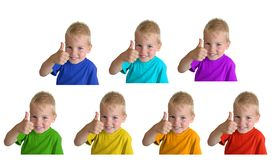 Boys in iridescent sports shirts show gesture ok Royalty Free Stock Photography