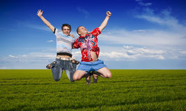 Boys jumping Royalty Free Stock Photos