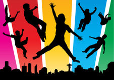 Boys jumping in the Funky city Stock Photos