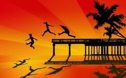 Boys jumping from pier royalty free illustration