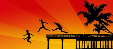 boys jumping from pier into the sea vector illustration