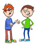 Boys kid characters talking cartoon illustration royalty free illustration