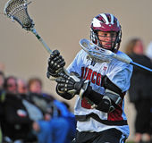 Boys Lacrosse after the shot Royalty Free Stock Photos