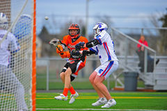 Boys Lacrosse Sprague shot on goal Royalty Free Stock Photography