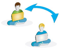 Boys with Laptop Computer. 3D Illustration Boys use a Laptop Computer Royalty Free Stock Photo