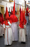 Boys and Leader in Semana Santa March Stock Photo