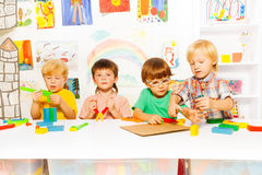 Boys learn to use tools as grownups Royalty Free Stock Photo