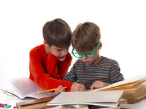 Boys learning together, education concept Royalty Free Stock Image