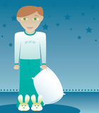 Boys like Bunny Slippers 2. Little freckled boy in pajamas and bunny slippers, holding his pillow -- ready to go to bed like a good little boy Stock Illustration
