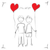 Boys love greeting card in vector format Royalty Free Stock Images