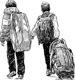 Boys with luggage Royalty Free Stock Images