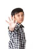 Boys making stop Stock Image