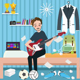 Boys man room holding guitar in dorm play music Stock Images