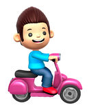 Boys Mascot Driving a motorbike dynamic. 3D Family and Children Royalty Free Stock Photo