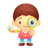 Boys mascot examine a with a magnifying glass. Korea Traditional Royalty Free Stock Photos