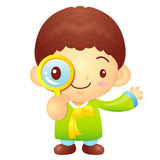 Boys mascot examine a with a magnifying glass. Korea Traditional Royalty Free Stock Photography