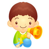 Boys Mascot the hand is holding a loudspeaker. Korea Traditional Stock Image