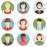 Boys and men faces icons in flat style. Showing different ages  hairstyles  clothing  casual   sport  professional  multiracial ethnicity for use as avatars Royalty Free Stock Photography