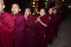 Boys monks Buddhist monastery, Kathmandu, Nepal, 2017 December royalty free stock photography