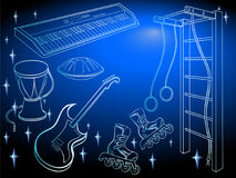 Boys music sport blue. Vector set of subjects for a teenager`s hobby - music and sport, harmonious development art and child`s health, sport complex, skates Stock Images
