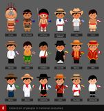 Boys in national costumes with flags. royalty free illustration