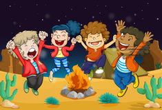 Boys near fire. Illustration of boys near fire in dark night Stock Photography