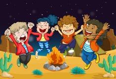 Boys near fire. Illustration of boys near fire in dark night Stock Photography