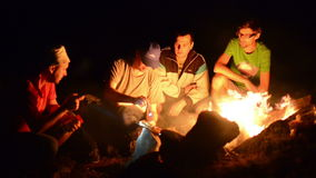 Boys Night Near Campfire stock video footage