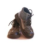 Boys old laced up boots Royalty Free Stock Image