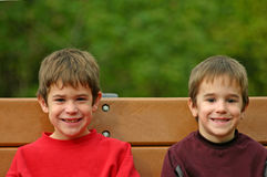 Boys on Park Bench stock photography