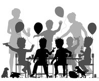 Boys party. Editable vector silhouette of young boys having a lively party with all elements as separate objects Royalty Free Illustration