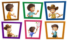 Boys and photo frames Stock Image