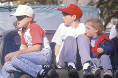 Boys in a pickup truck Royalty Free Stock Images