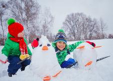 Boys plaing in the snow Stock Photo