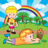 Boys planting. Little plants on the forest. Vector Illustration vector illustration
